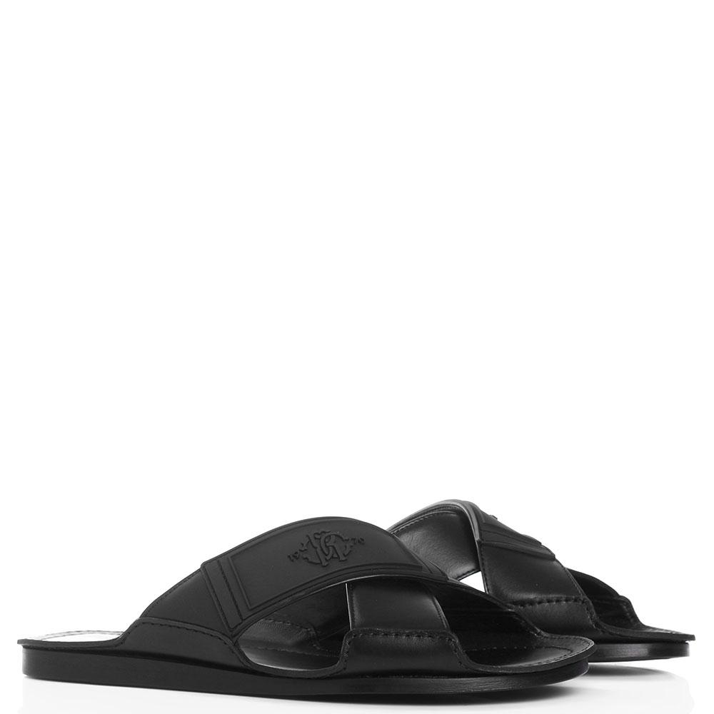 Черные шлепанцы Roberto Cavalli с резиновой вставкой
