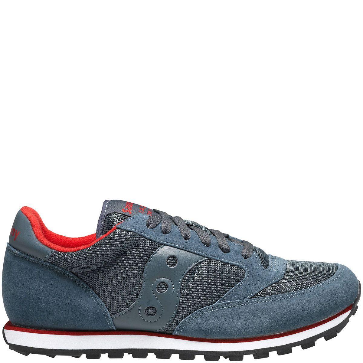 Мужские кроссовки Saucony Jazz Low Pro Mesh сине-серые и красные внутри