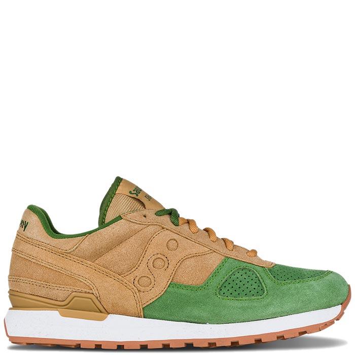 Кроссовки Saucony SHADOW O 2016'SS коричневые с зеленым носочком