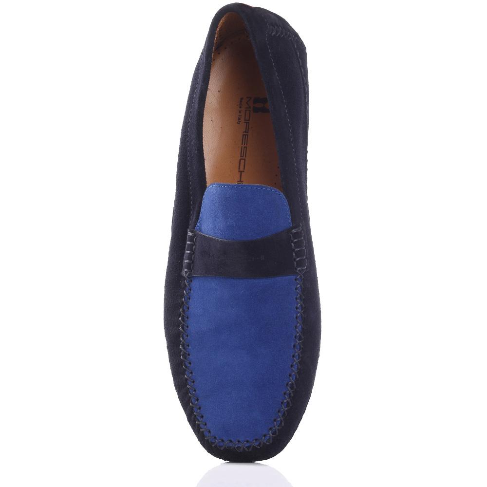 Мокасины Moreschi из синей замши