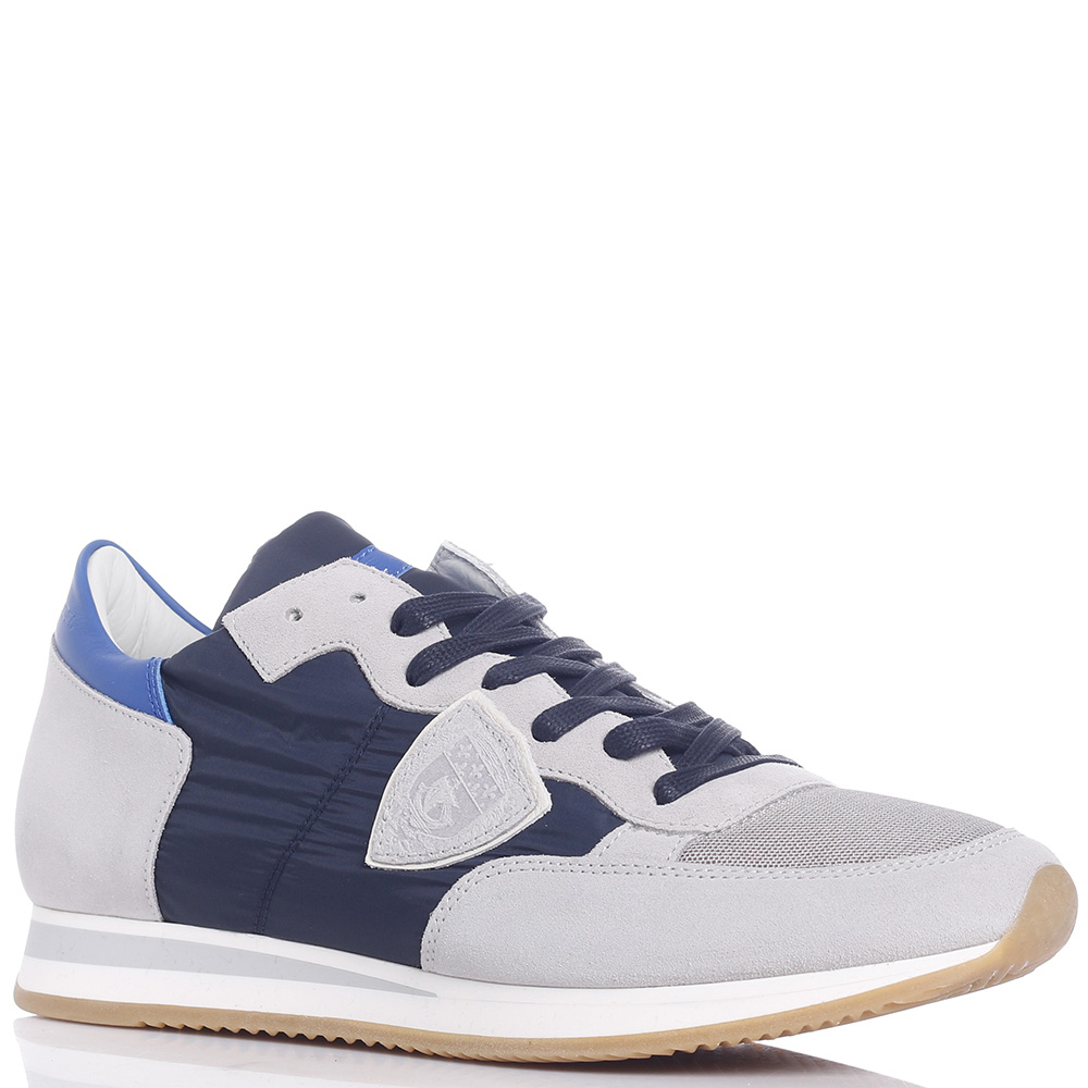 Кроссовки Philippe Model серые с синим