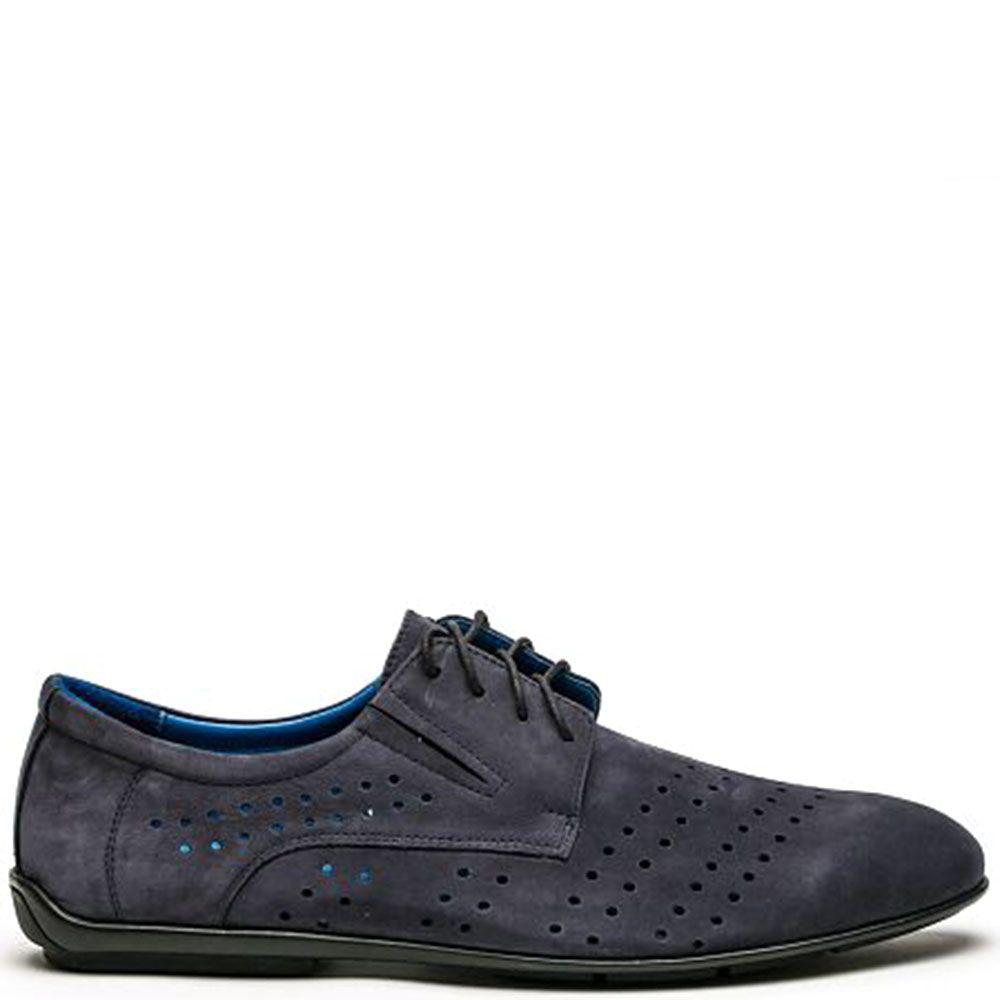 Кожаные туфли синего цвета Modus Vivendi на шнуровке