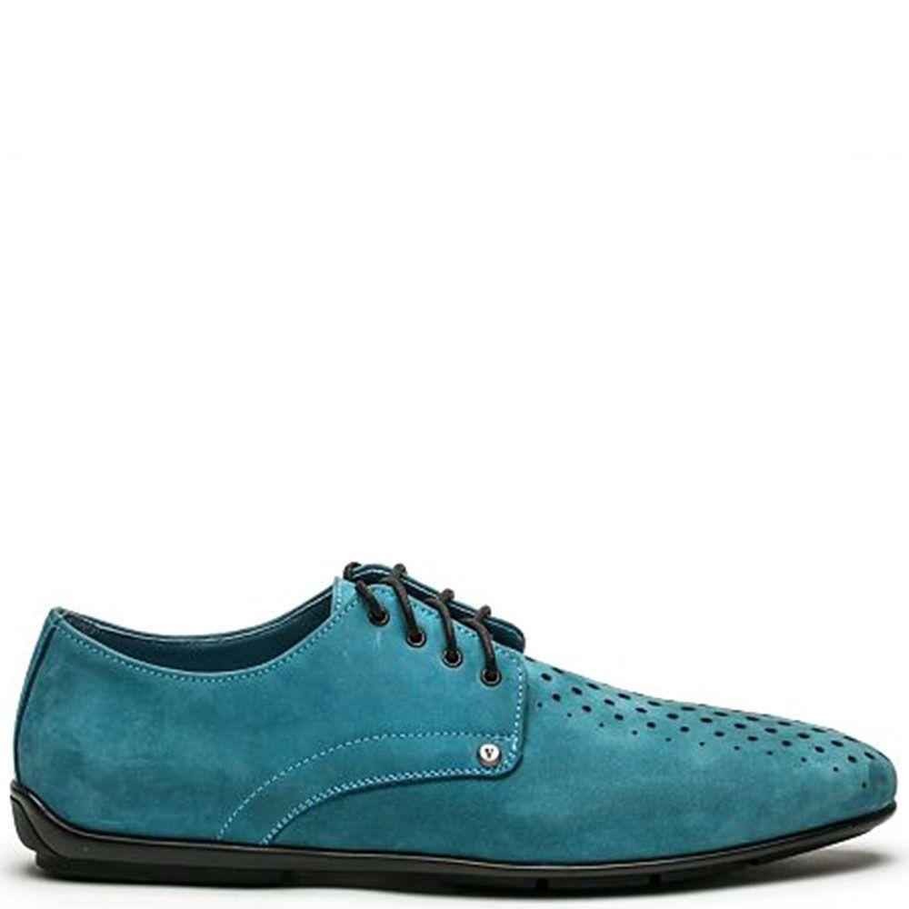 Кожаные туфли голубого цвета Modus Vivendi на шнуровке