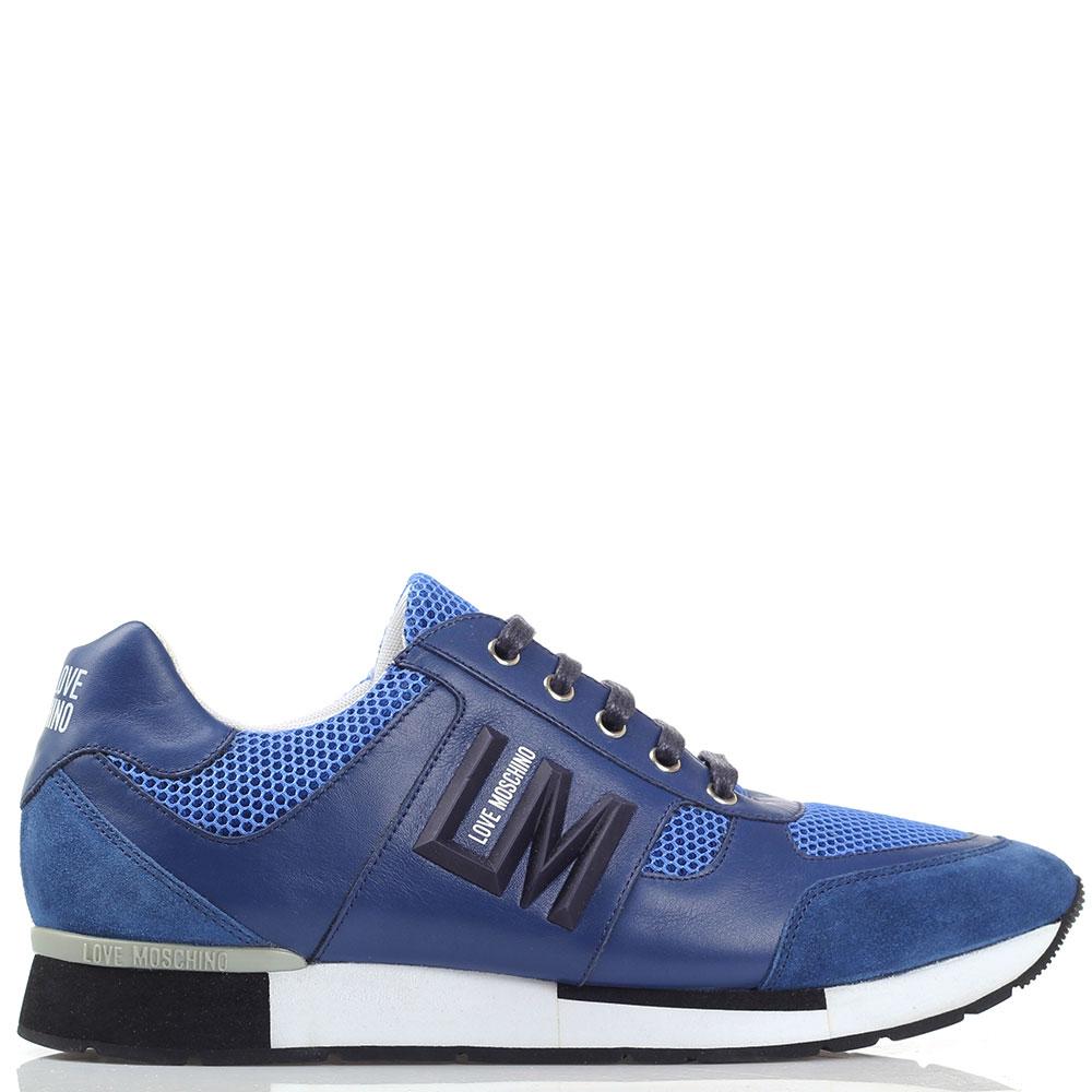 Синие мужские кроссовки Love Moschino