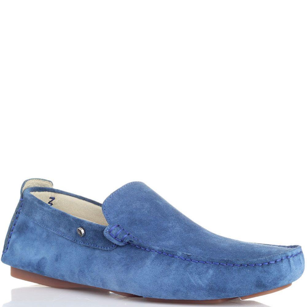 Мокасины из замши голубого цвета Mersedes benz