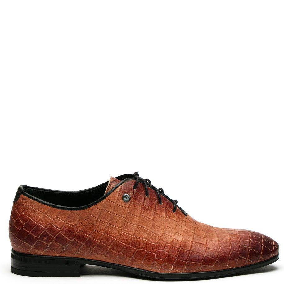 Туфли Modus Vivendi кожаные рыжего цвета с фактурным тиснением