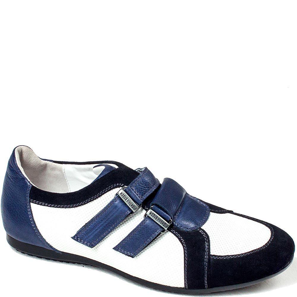 Мужские кроссовки Modus Vivendi из сочетания кожи и замши белого и синего цвета