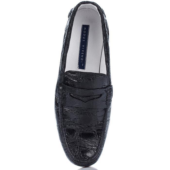 Черные туфли-мокасины Modus Vivendi из натуральной фактурной кожи