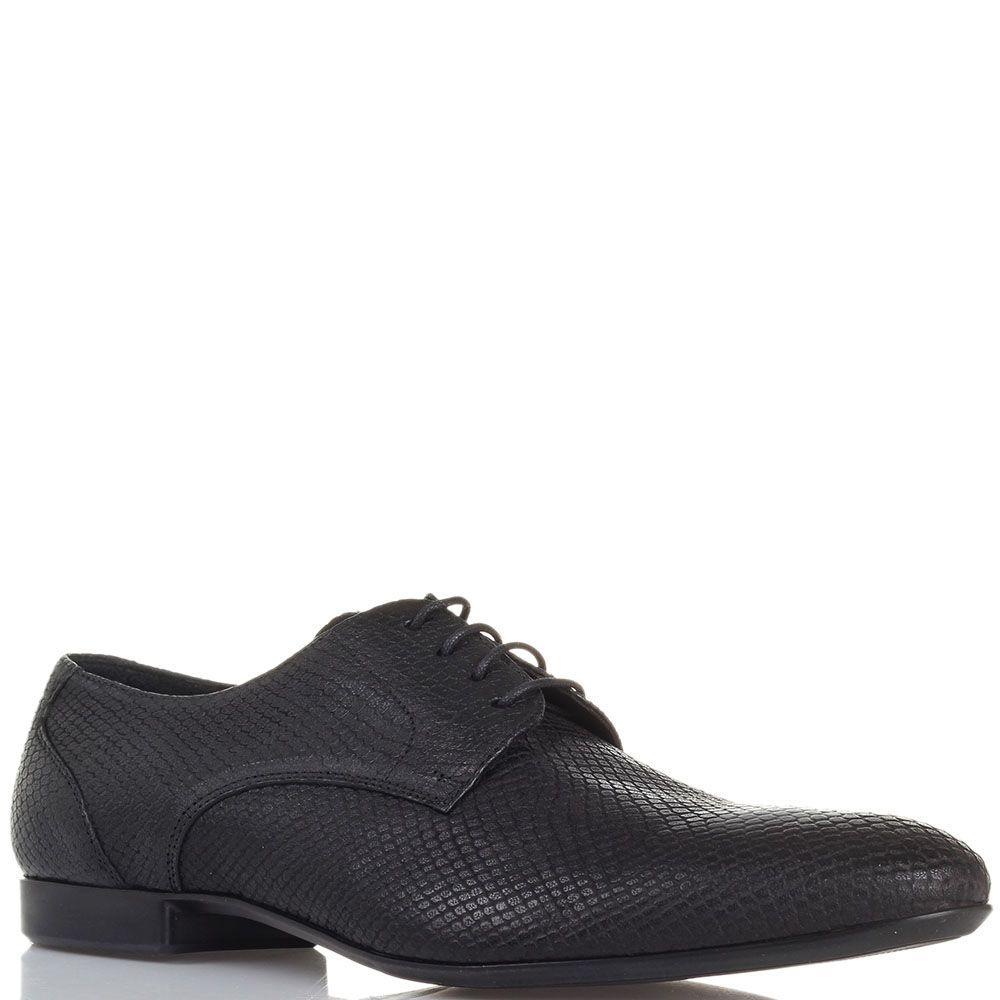 Кожаные туфли с тиснением под змею черного цвета Roberto di Paolo