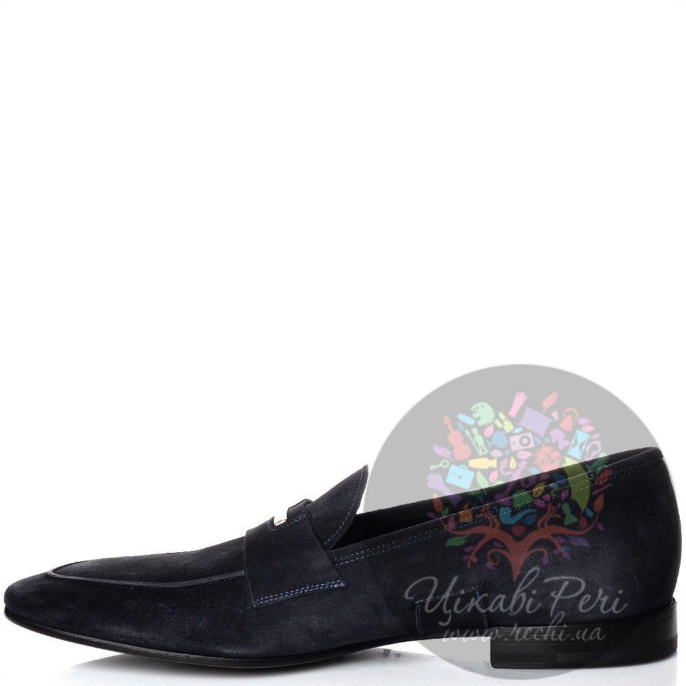 Туфли-лоферы Alessandro Dell Acqua из замши синего цвета