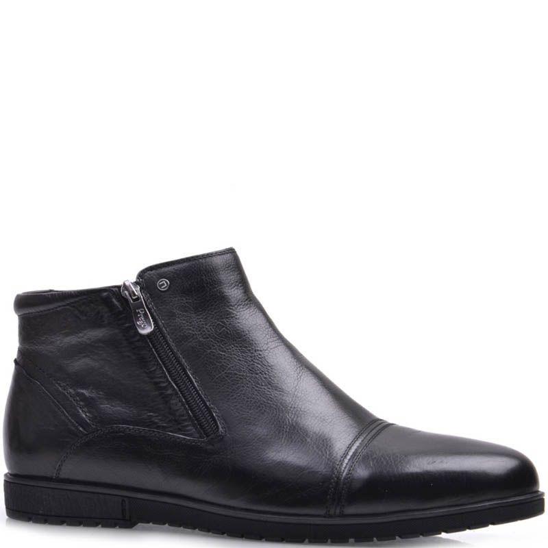Ботинки Prego зимние черного цвета кожаные на меху с двумя молниями