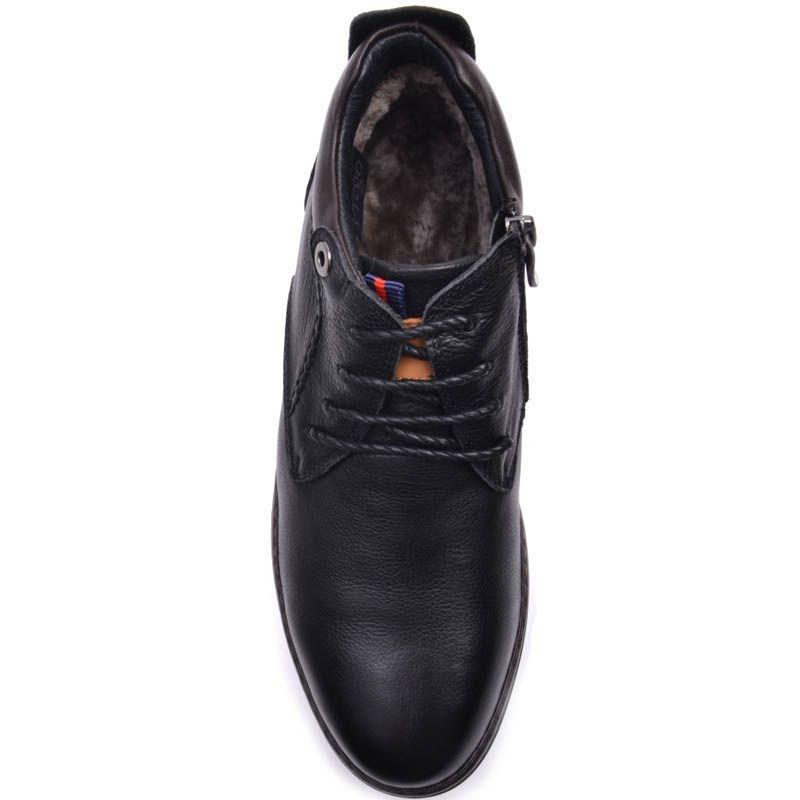 Ботинки Prego зимние на меху кожаные на шнуровке и молнии и с толстой подошвой
