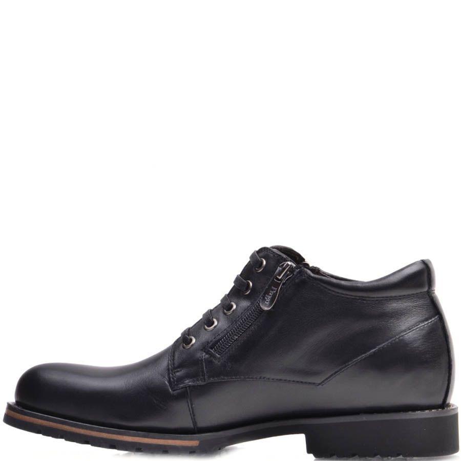 Ботинки Prego зимние черного цвета кожаные на шнуровке и с двумя молниями по бокам