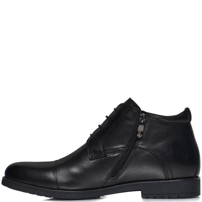 Мужские ботинки Prego из кожа черного цвета с закругленным носком