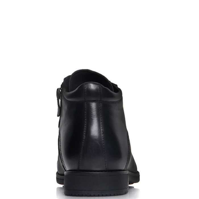 Мужские ботинки Prego из натуральной кожи черного цвета с закругленным носком