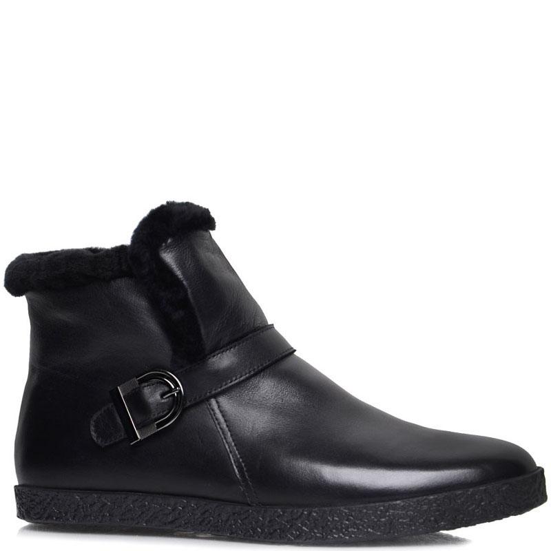Мужские ботинки Prego из кожи черного цвета с ремешком