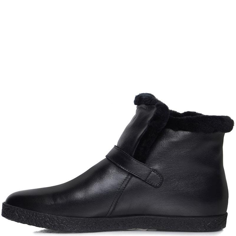 Мужские ботинки Prego из натуральной кожи черного цвета с ремешком