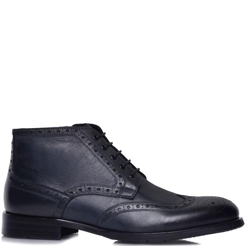 Ботинки-броги Prego из кожи синего цвета