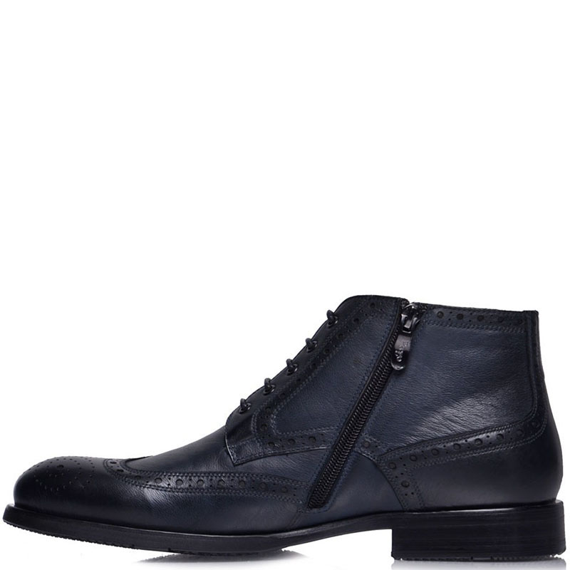 Ботинки-броги Prego из  натуральной кожи синего цвета