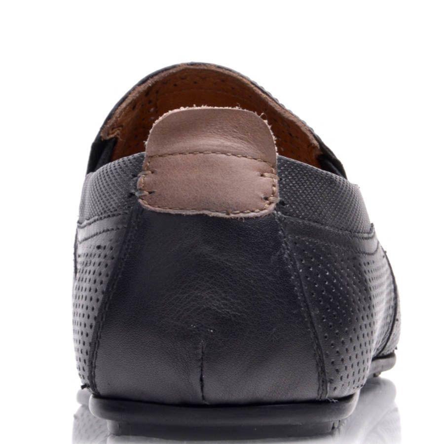 Мокасины Prego мужские черного цвета из перфорированной кожи