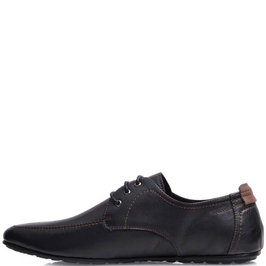 Туфли Prego мужские кожаные черного цвета с бежевыми строчками
