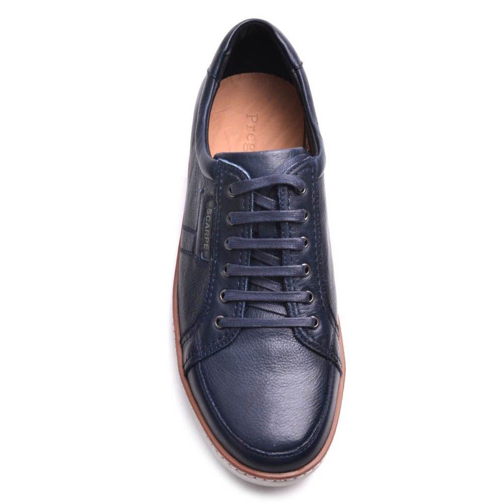 Кеды Prego мужские кожаные синего цвета
