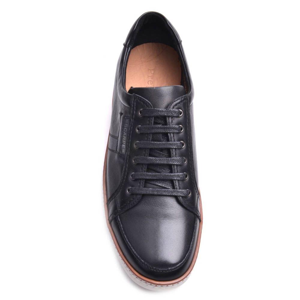 Кеды Prego мужские кожаные черного цвета с белой подошвой