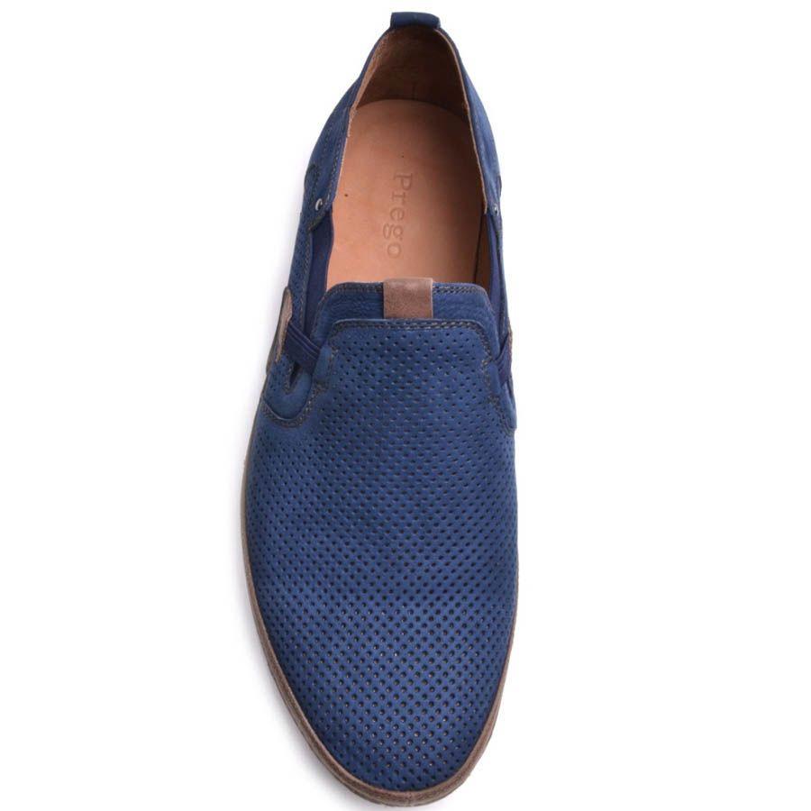 Туфли Prego мужские синего цвета из нубука в мелкую перфорацию