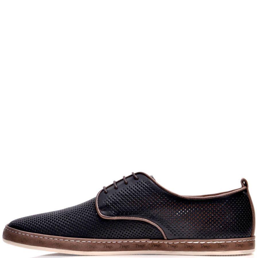Туфли Prego мужские черного цвета кожаные с коричневой оконтовкой и мелкой перфорацией