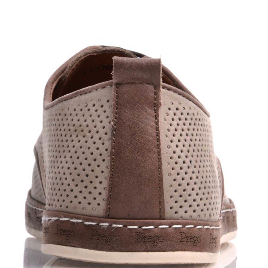 Туфли Prego мужские бежевого цвета с коричневой оконтовкой и мелкой перфорацией