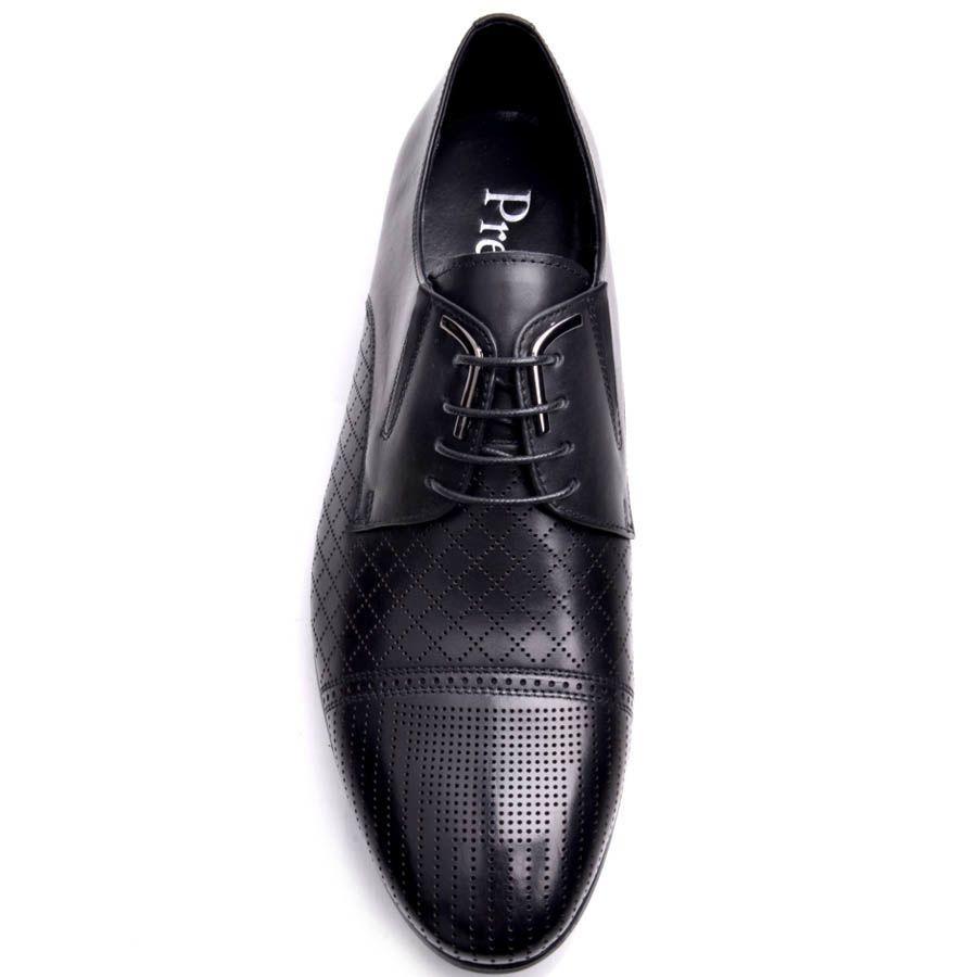 Туфли Prego мужские черного цвета с мелкой симметричной перфорацией