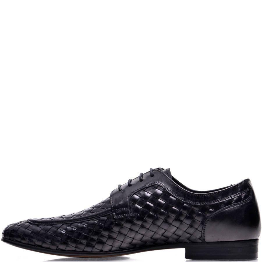 Туфли Prego мужские черного цвета с эффектом плетения