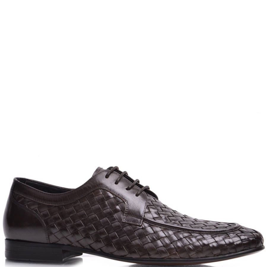 Туфли Prego мужские коричневого цвета с эффектом плетения