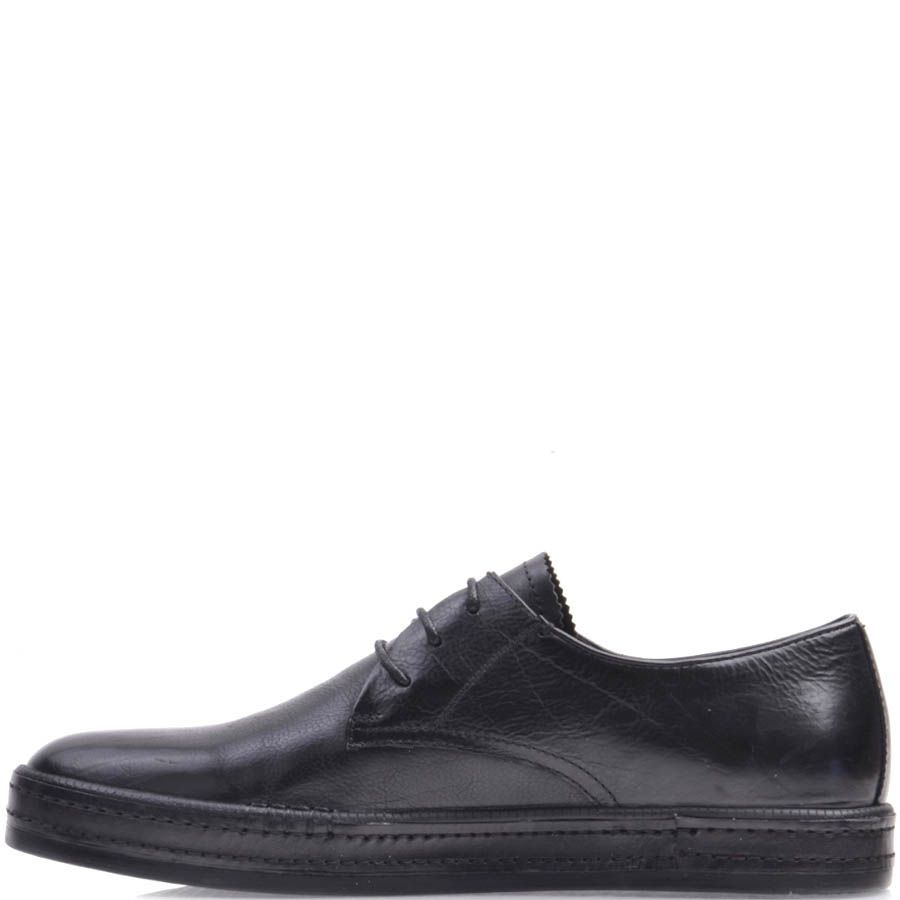 Туфли Prego черного цвета на шнуровке с плоской подошвой