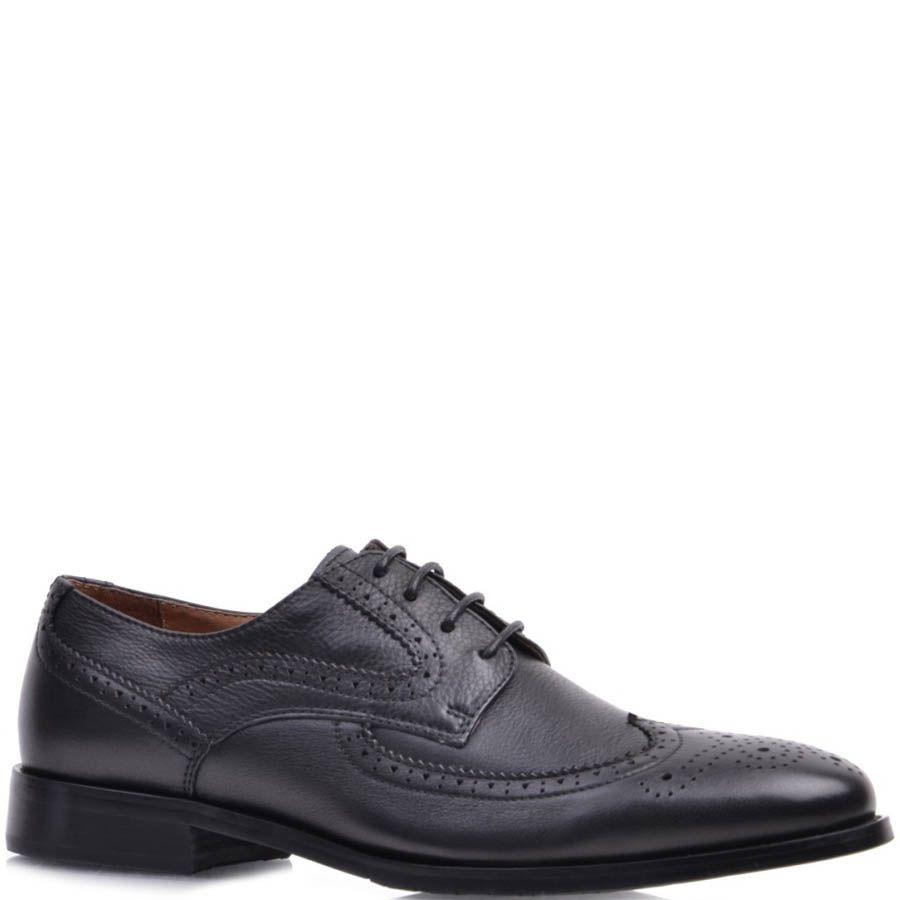 Туфли-броги Prego кожаные черного цвета с перфорированным узором на носке