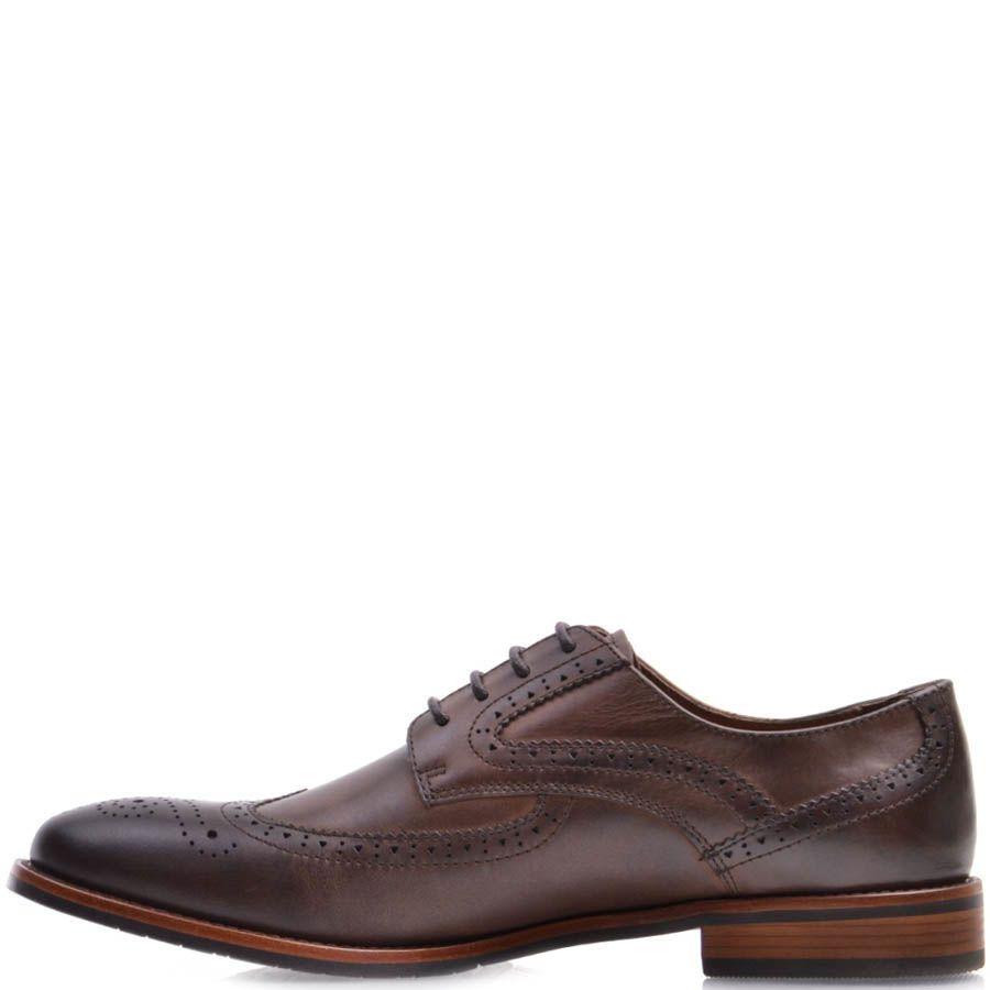 Туфли-броги Prego коричневого цвета с перфорацией на носке