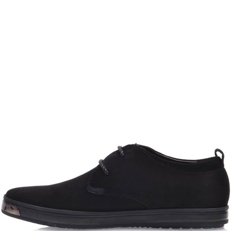 Туфли Prego спортивные черного цвета на шнуровке с металлической вставкой на носке