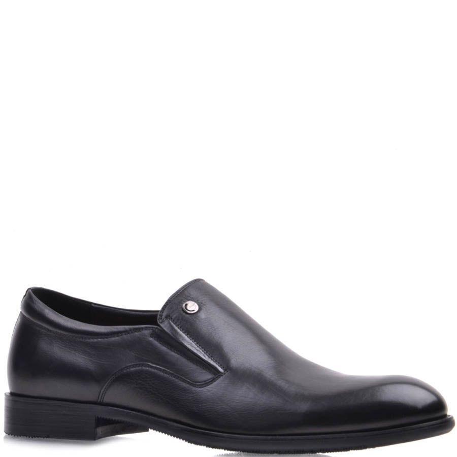 Туфли на резинках Prego черного цвета гладкие из натуральной кожи с круглым металлическим логотипом