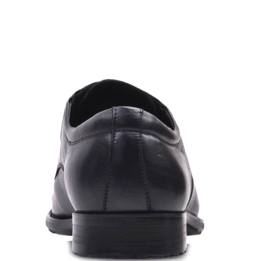Туфли классические Prego черного цвета гладкие со шнуровкой и резинками по бокам