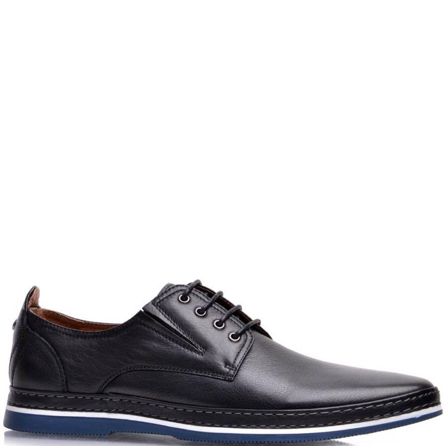 Туфли Prego мужские кожаные черного цвета с синей подошвой