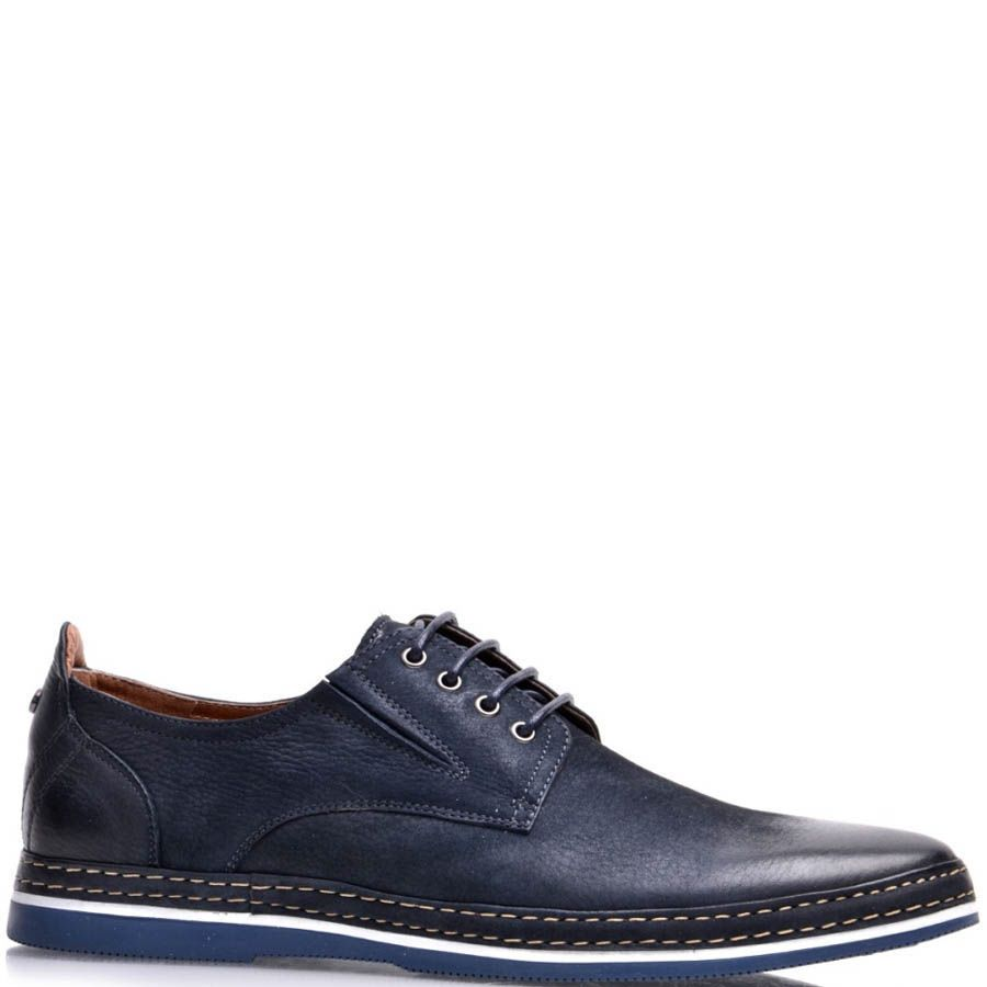 Туфли Prego мужские синего цвета с синей подошвой