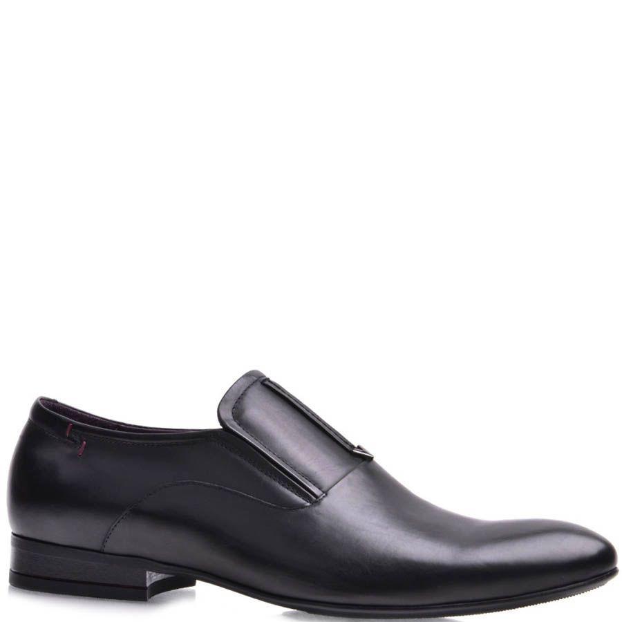 Туфли-лоферы Prego мужские черного цвета с короткой декоративной строчкой