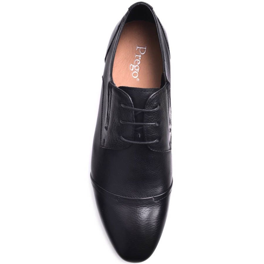 Туфли Prego мужские черного цвета со швом на носке