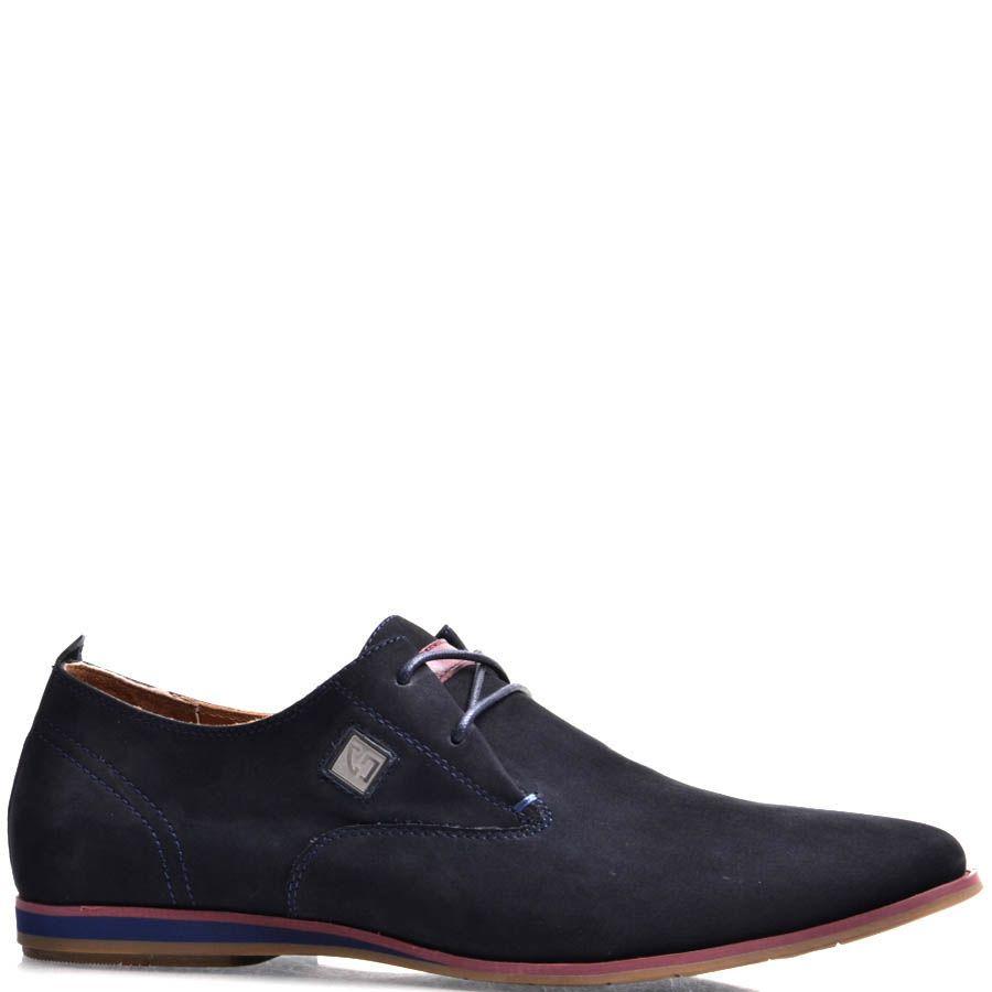 Туфли Prego мужские из нубука синего цвета с цветной подошвой