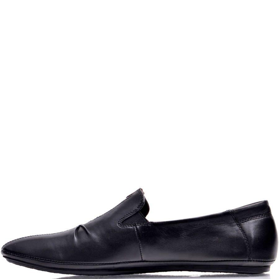 Лоферы Prego мужские черного цвета кожаные с декоративной складкой