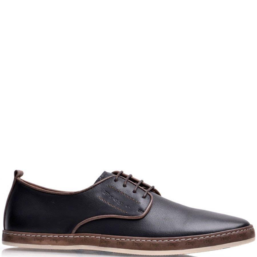 Туфли Prego мужские черного цвета кожаные с коричневой оконтовкой
