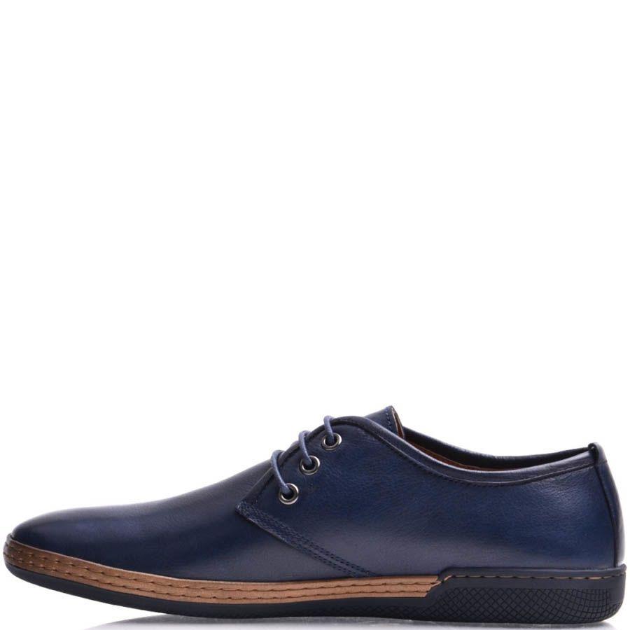 Туфли Prego мужские синего цвета с коричневой вставкой на подошве