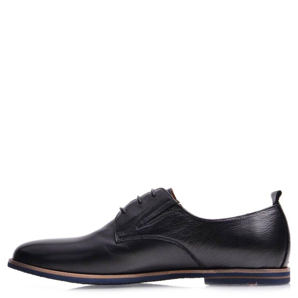 Туфли Prego мужские кожаные черного цвета с оконтовкой синего цвета на подошве