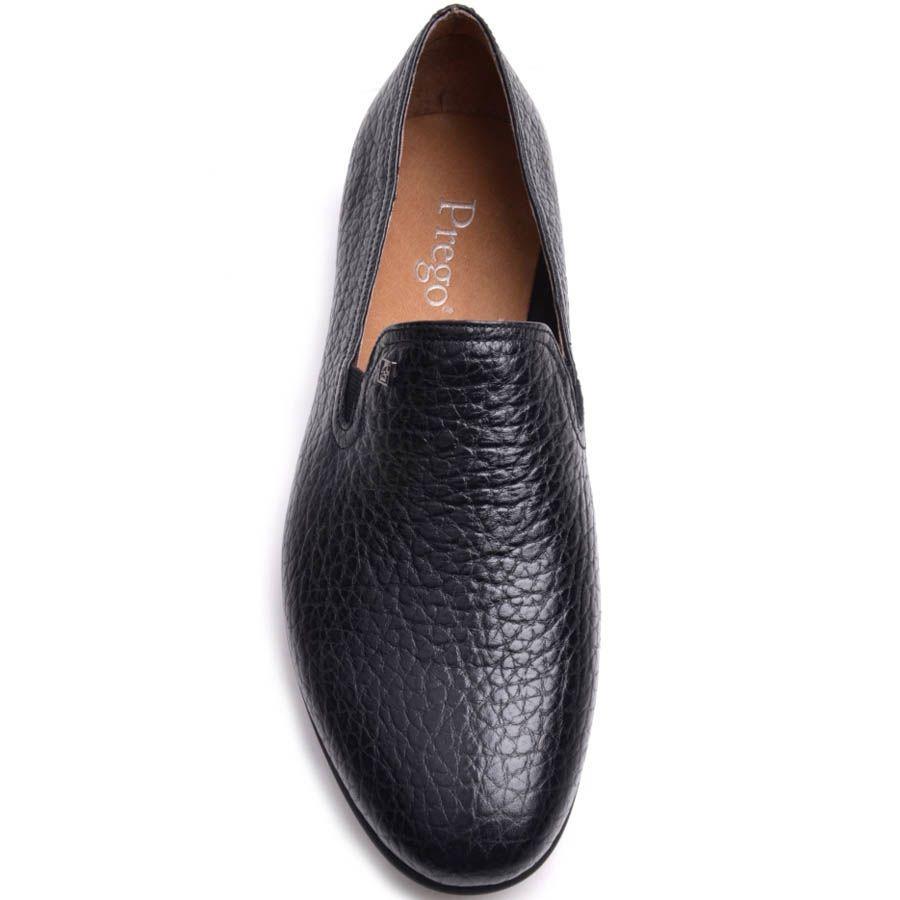 Слиперы Prego мужские черного цвета из мелкозернистой кожи