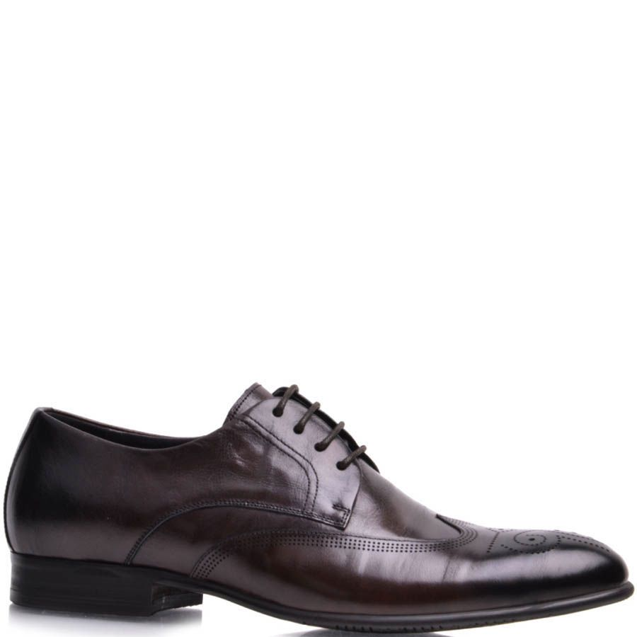 Туфли Prego мужские коричневого цвета с перфорацией на носке